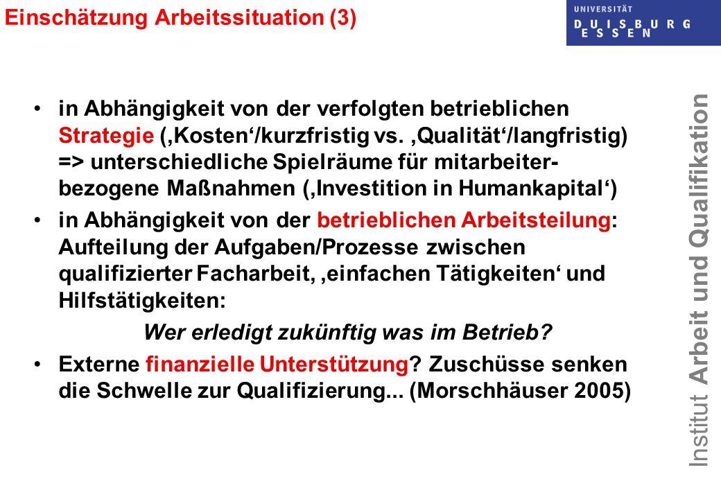 Institut Arbeit und Qualifikation Einschätzung Arbeitssituation (3) in Abhängigkeit von der verfolgten betrieblichen Strategie (Kosten/kurzfristig vs.
