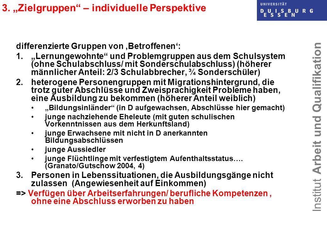 Institut Arbeit und Qualifikation 3. Zielgruppen – individuelle Perspektive differenzierte Gruppen von Betroffenen: 1.Lernungewohnte und Problemgruppe