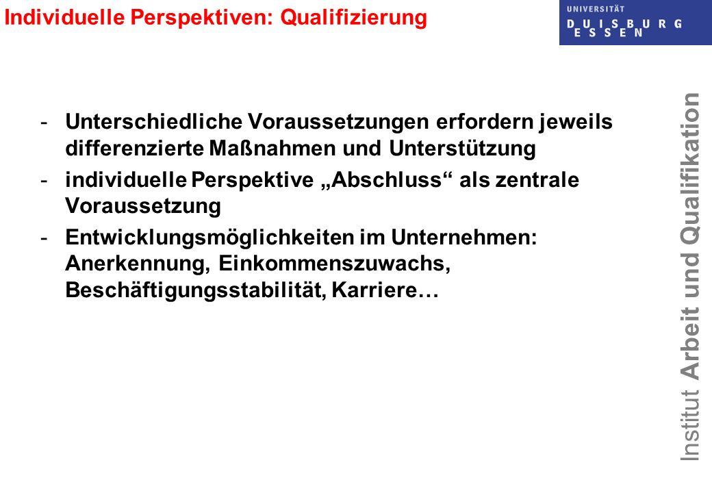 Institut Arbeit und Qualifikation Individuelle Perspektiven: Qualifizierung -Unterschiedliche Voraussetzungen erfordern jeweils differenzierte Maßnahm