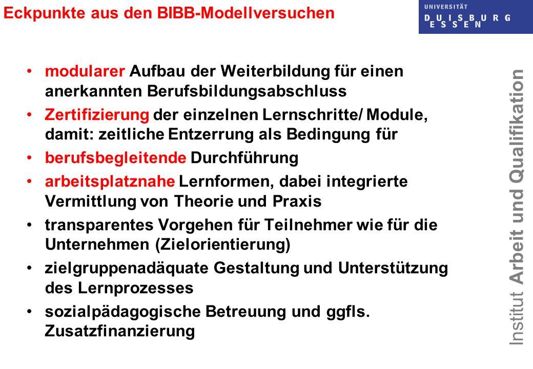 Institut Arbeit und Qualifikation Eckpunkte aus den BIBB-Modellversuchen modularer Aufbau der Weiterbildung für einen anerkannten Berufsbildungsabschl