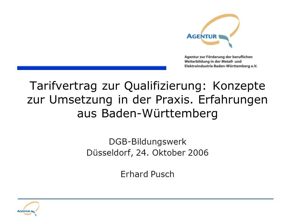 Tarifvertrag zur Qualifizierung: Konzepte zur Umsetzung in der Praxis. Erfahrungen aus Baden-Württemberg DGB-Bildungswerk Düsseldorf, 24. Oktober 2006