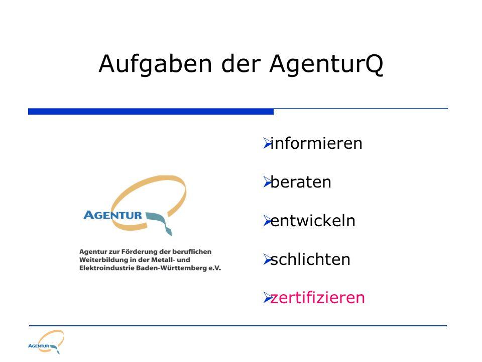 Aufgaben der AgenturQ informieren beraten entwickeln schlichten zertifizieren