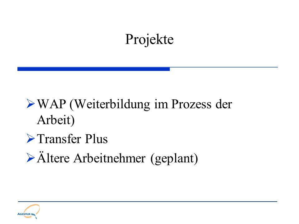 Projekte WAP (Weiterbildung im Prozess der Arbeit) Transfer Plus Ältere Arbeitnehmer (geplant)
