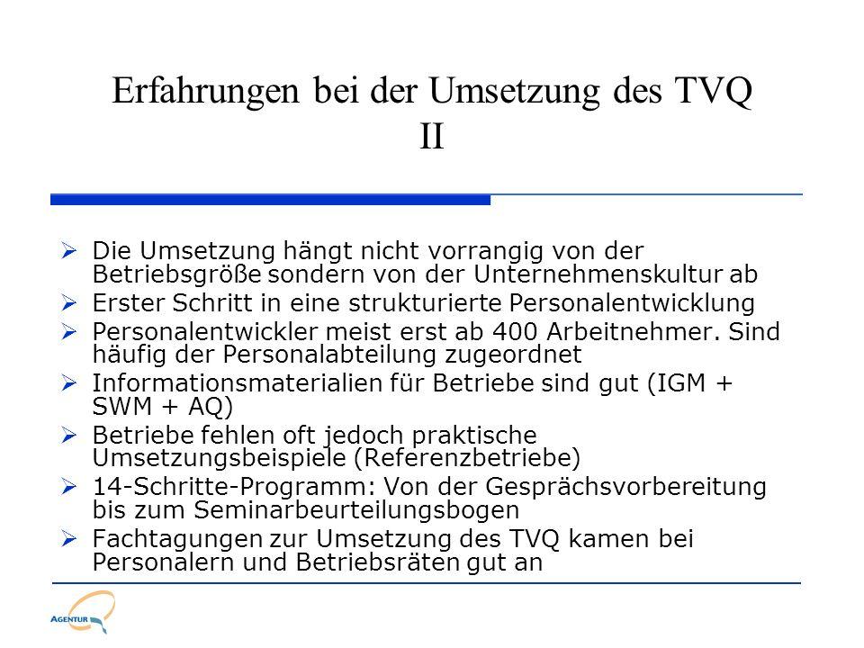 Erfahrungen bei der Umsetzung des TVQ II Die Umsetzung hängt nicht vorrangig von der Betriebsgröße sondern von der Unternehmenskultur ab Erster Schrit
