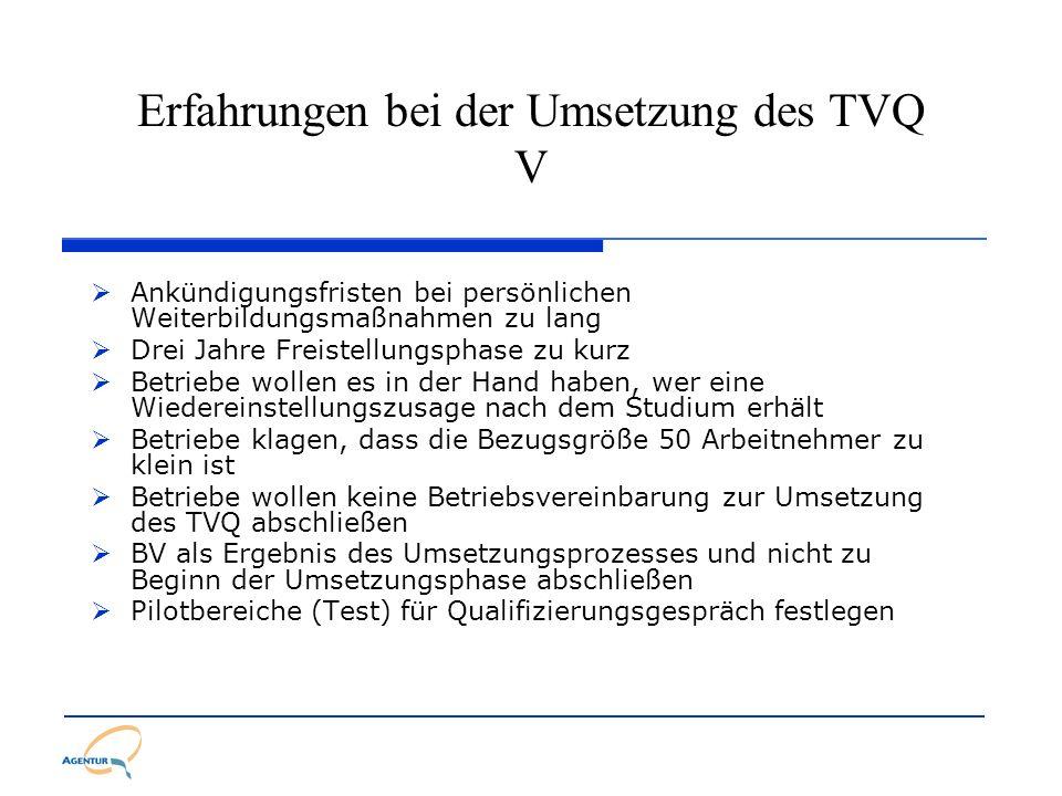 Erfahrungen bei der Umsetzung des TVQ V Ankündigungsfristen bei persönlichen Weiterbildungsmaßnahmen zu lang Drei Jahre Freistellungsphase zu kurz Bet
