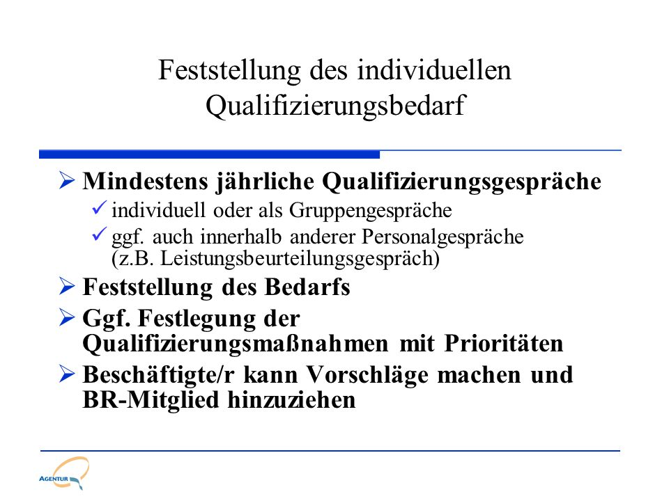 Feststellung des individuellen Qualifizierungsbedarf Mindestens jährliche Qualifizierungsgespräche individuell oder als Gruppengespräche ggf. auch inn