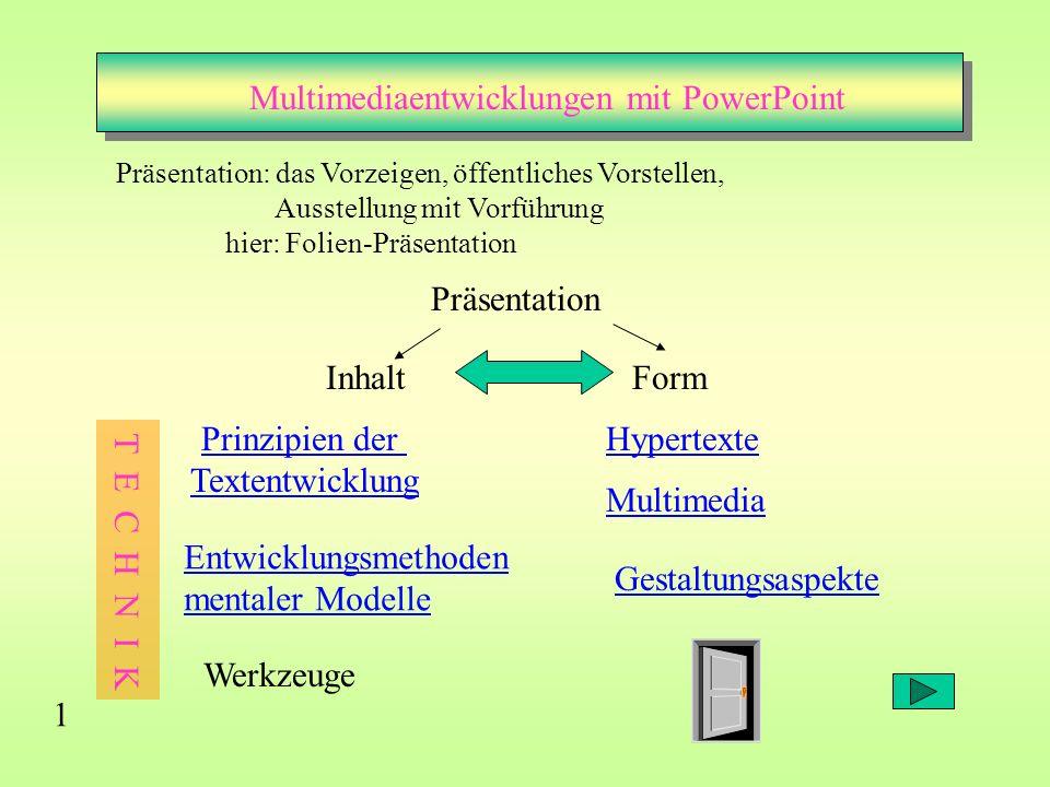Multimediaentwicklungen mit PowerPoint Multimedia Hypertexte 1 Präsentation: das Vorzeigen, öffentliches Vorstellen, Ausstellung mit Vorführung hier: Folien-Präsentation Präsentation InhaltForm Prinzipien der Textentwicklung Gestaltungsaspekte Entwicklungsmethoden mentaler Modelle Werkzeuge T E C H N I K