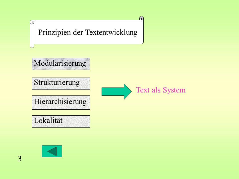 3 Prinzipien der Textentwicklung Modularisierung Strukturierung Hierarchisierung Lokalität Text als System