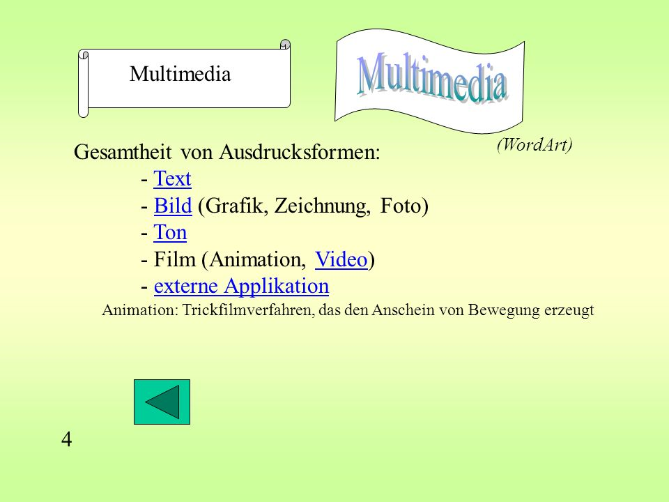 Gesamtheit von Ausdrucksformen: - TextText - Bild (Grafik, Zeichnung, Foto)Bild - TonTon - Film (Animation, Video)Video - externe Applikationexterne Applikation Multimedia 4 Animation: Trickfilmverfahren, das den Anschein von Bewegung erzeugt (WordArt)
