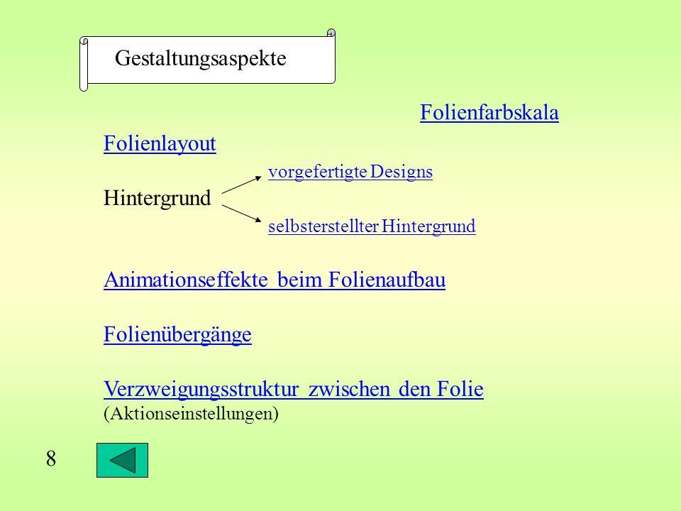 Animationseffekte beim Folienaufbau Text von oben 18 Markieren des Animationsobjektes...