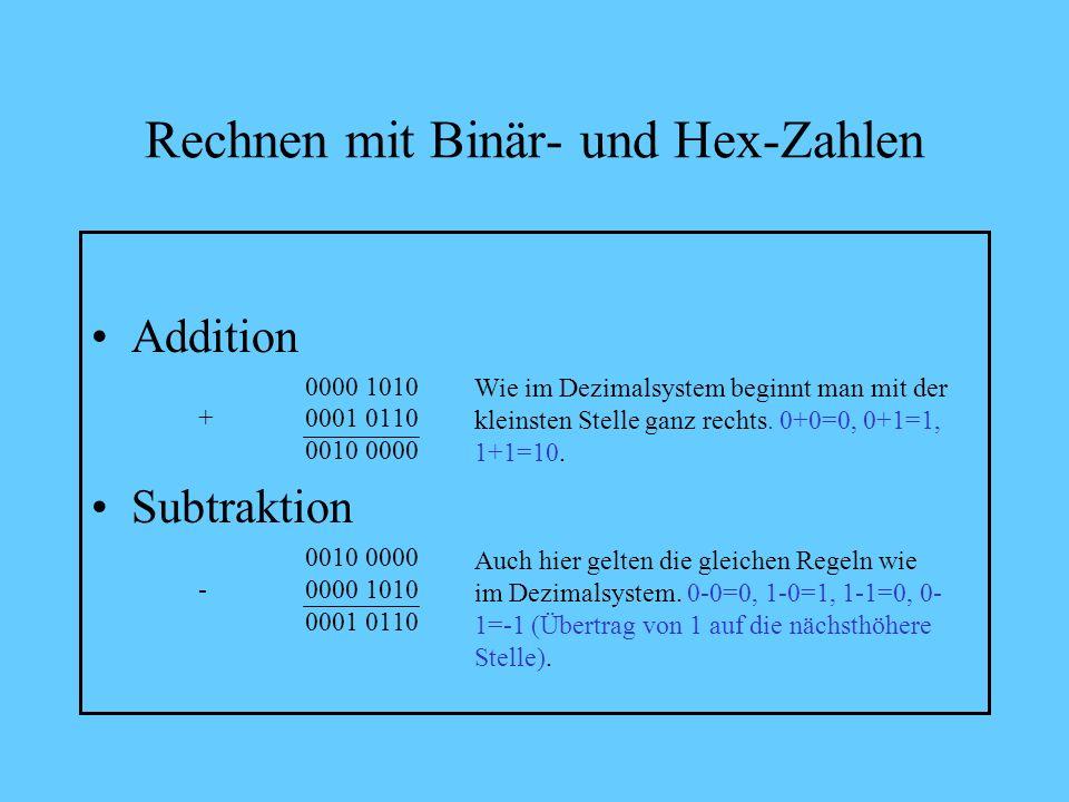 Rechnen mit Binär- und Hex-Zahlen Der ASCII-Code von 0-255 lässt sich mit einer 2- stelligen Hex-Zahl und einer 8-stelligen Binärzahl (= 8 Bit bzw. 1
