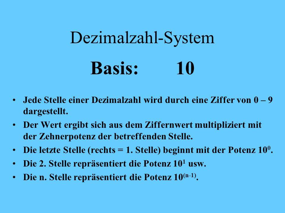Grundlagen der Zahlensysteme Mit Ausnahme der römischen und ostasiatischen Zahlenzeichen basieren die Zahlensysteme auf einem Stellensystem, d.h. jede