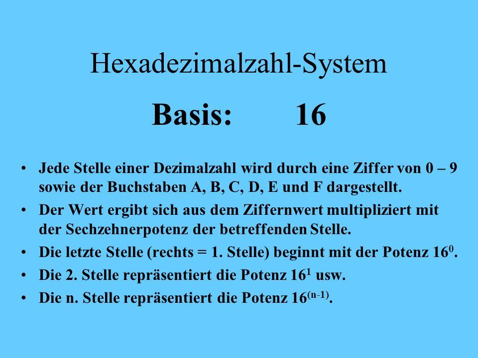Binärzahl -System Beispiel: 1 0 1 1 1 * 2 3 0 * 2 2 1 * 2 0 Ziffer Zweierpotenz d.h.: 1011 = 1*2 0 + 1*2 1 + 0*2 2 + 1*2 3 = 1 + 2 + 0 + 8 = 11 1 * 2
