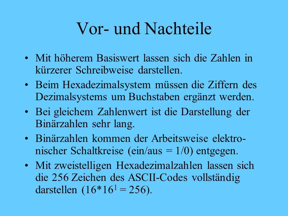 Hexadezimalzahl -System Beispiel: 8 A 8 * 16 1 Ziffer 16erpotenz d.h.: 8A = 10*16 0 + 8*16 1 = 10 + 128 = 138 10 * 16 0 Ziffer 16erpotenz
