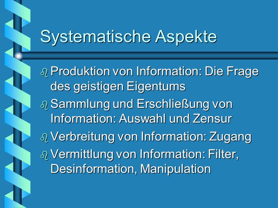 Systematische Aspekte b Produktion von Information: Die Frage des geistigen Eigentums b Sammlung und Erschließung von Information: Auswahl und Zensur