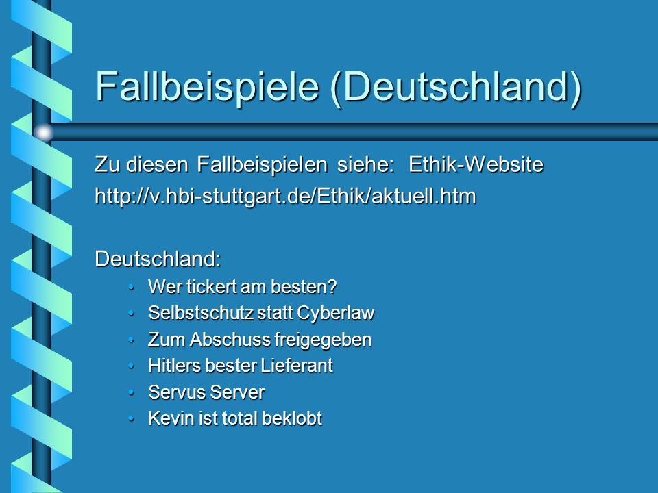Fallbeispiele (Deutschland) Zu diesen Fallbeispielen siehe: Ethik-Website http://v.hbi-stuttgart.de/Ethik/aktuell.htmDeutschland: Wer tickert am beste