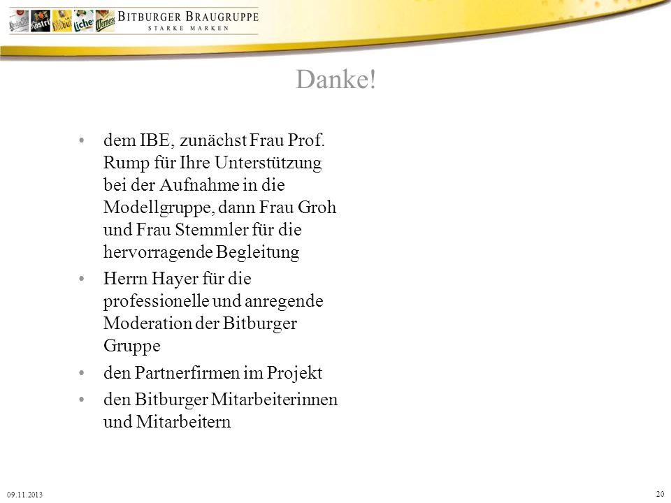 20 09.11.2013 Danke! dem IBE, zunächst Frau Prof. Rump für Ihre Unterstützung bei der Aufnahme in die Modellgruppe, dann Frau Groh und Frau Stemmler f