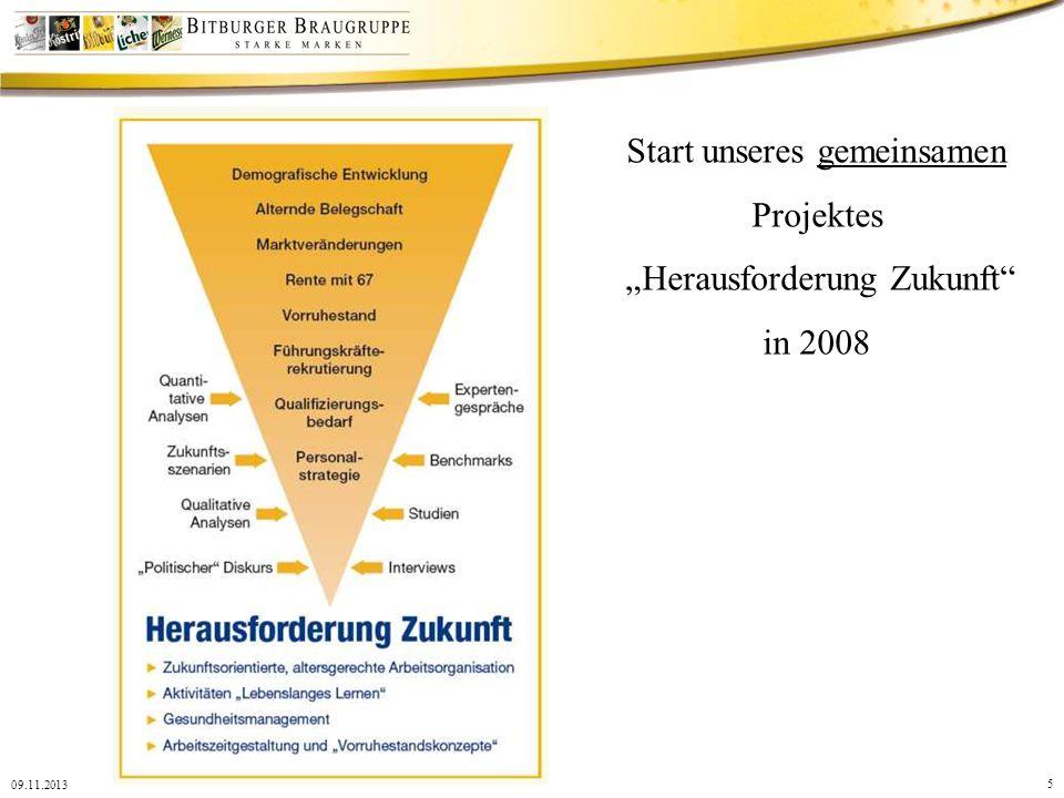 5 09.11.2013 Start unseres gemeinsamen Projektes Herausforderung Zukunft in 2008