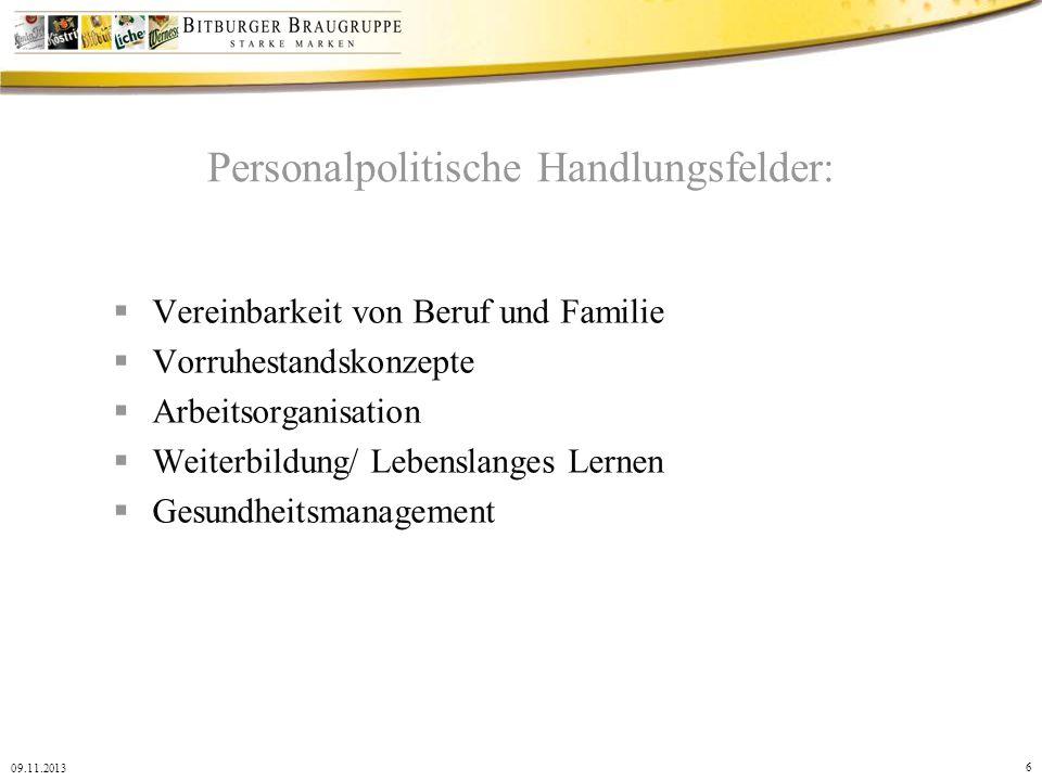 6 09.11.2013 Personalpolitische Handlungsfelder: Vereinbarkeit von Beruf und Familie Vorruhestandskonzepte Arbeitsorganisation Weiterbildung/ Lebensla