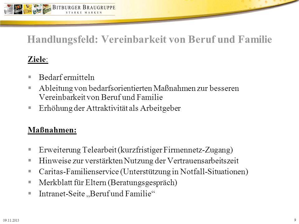 9 09.11.2013 Handlungsfeld: Vereinbarkeit von Beruf und Familie Ziele: Bedarf ermitteln Ableitung von bedarfsorientierten Maßnahmen zur besseren Verei