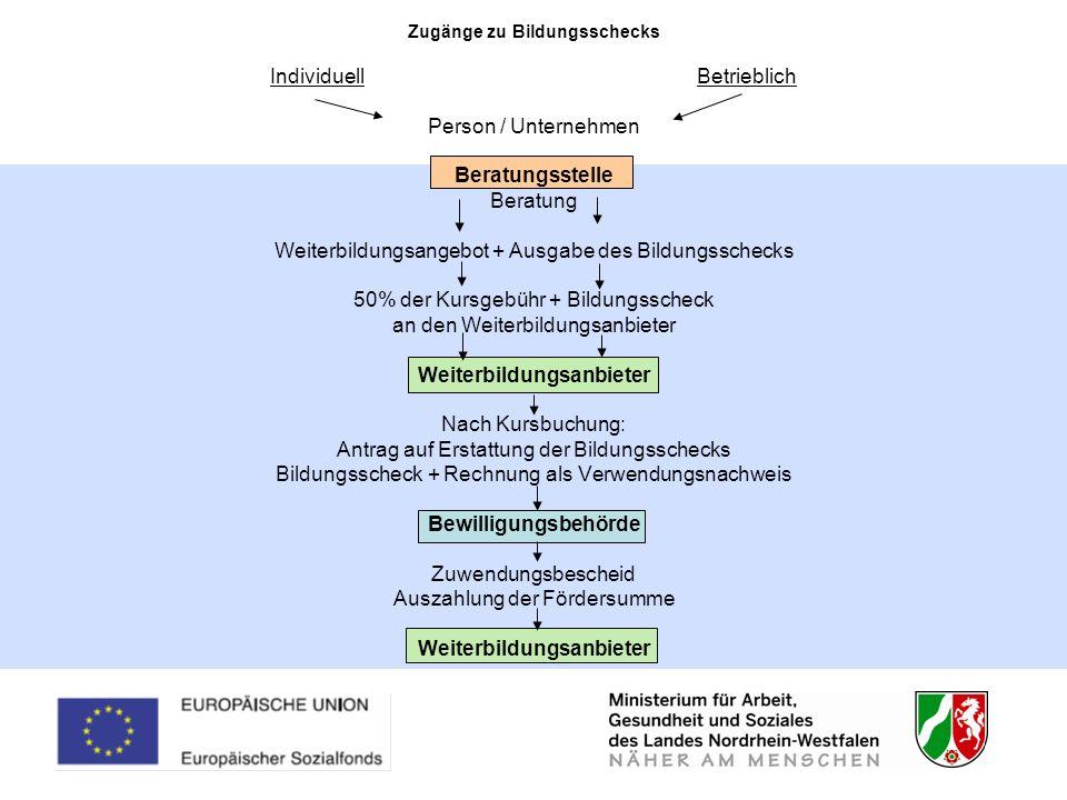 Zugänge zu Bildungsschecks Individuell Betrieblich Person / Unternehmen Beratungsstelle Beratung Weiterbildungsangebot + Ausgabe des Bildungsschecks 5