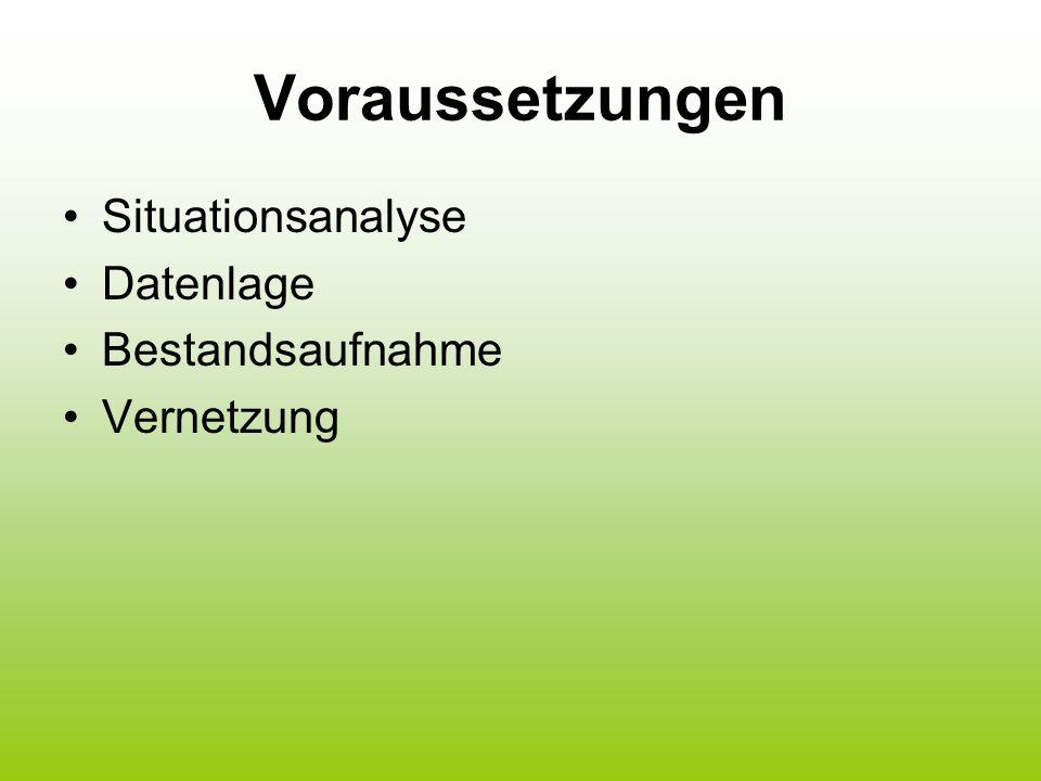 Voraussetzungen Situationsanalyse Datenlage Bestandsaufnahme Vernetzung