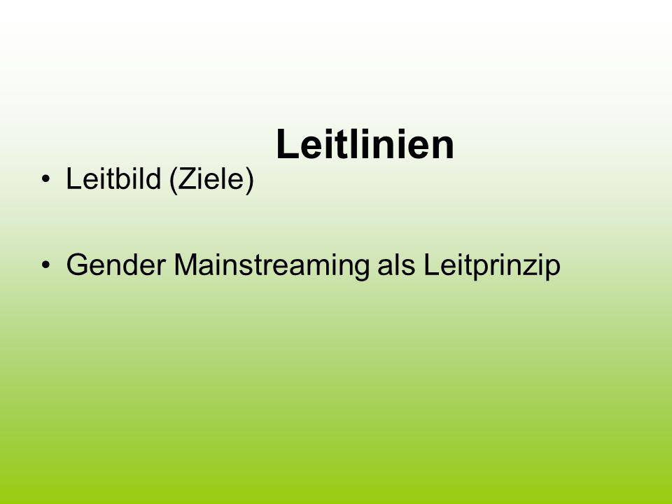 Leitlinien Leitbild (Ziele) Gender Mainstreaming als Leitprinzip