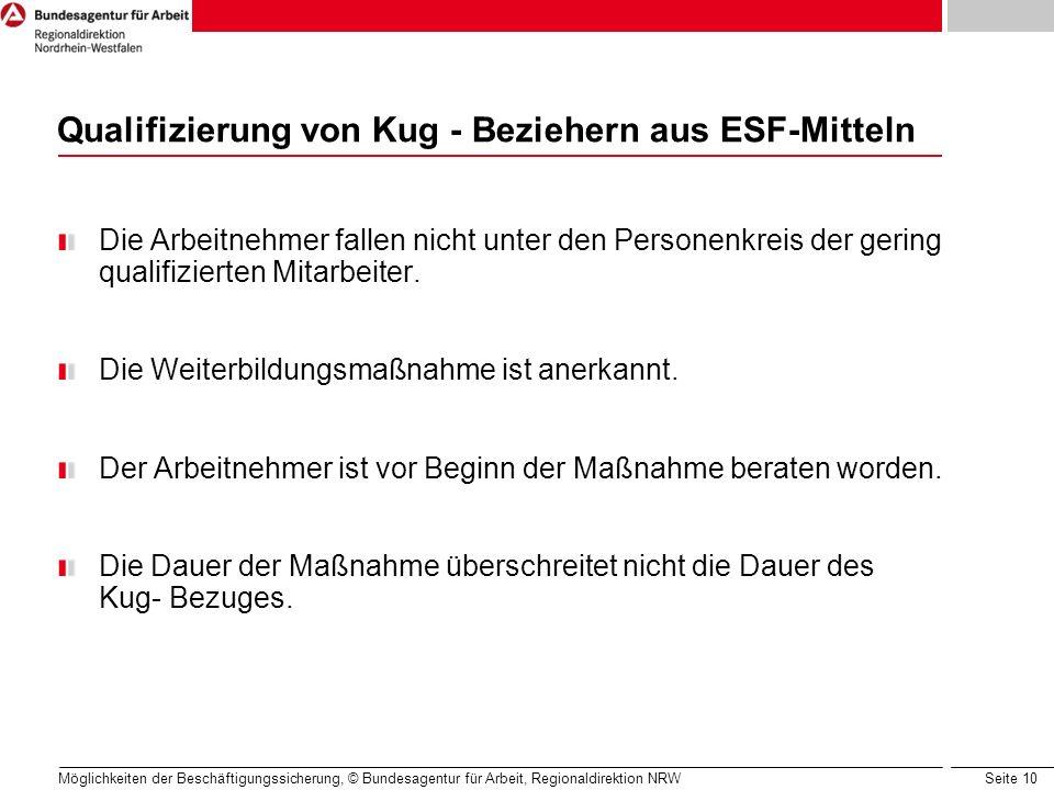 Seite 10 Möglichkeiten der Beschäftigungssicherung, © Bundesagentur für Arbeit, Regionaldirektion NRW Qualifizierung von Kug - Beziehern aus ESF-Mitte