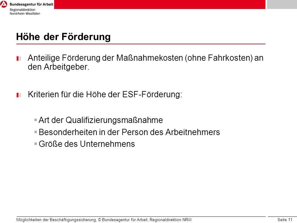 Seite 11 Möglichkeiten der Beschäftigungssicherung, © Bundesagentur für Arbeit, Regionaldirektion NRW Höhe der Förderung Anteilige Förderung der Maßna