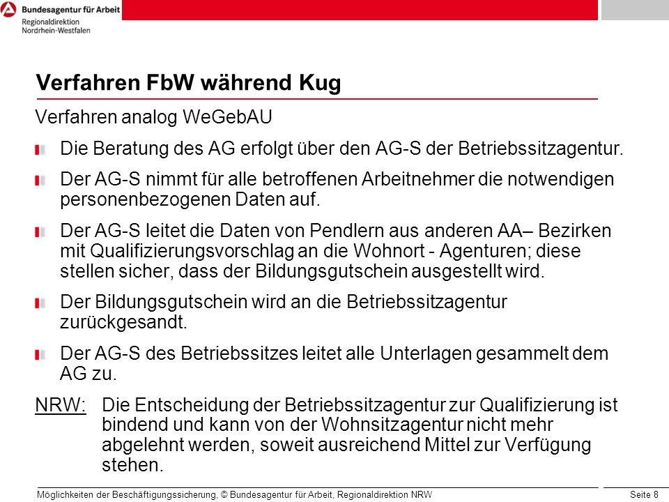 Seite 8 Möglichkeiten der Beschäftigungssicherung, © Bundesagentur für Arbeit, Regionaldirektion NRW Verfahren FbW während Kug Verfahren analog WeGebA