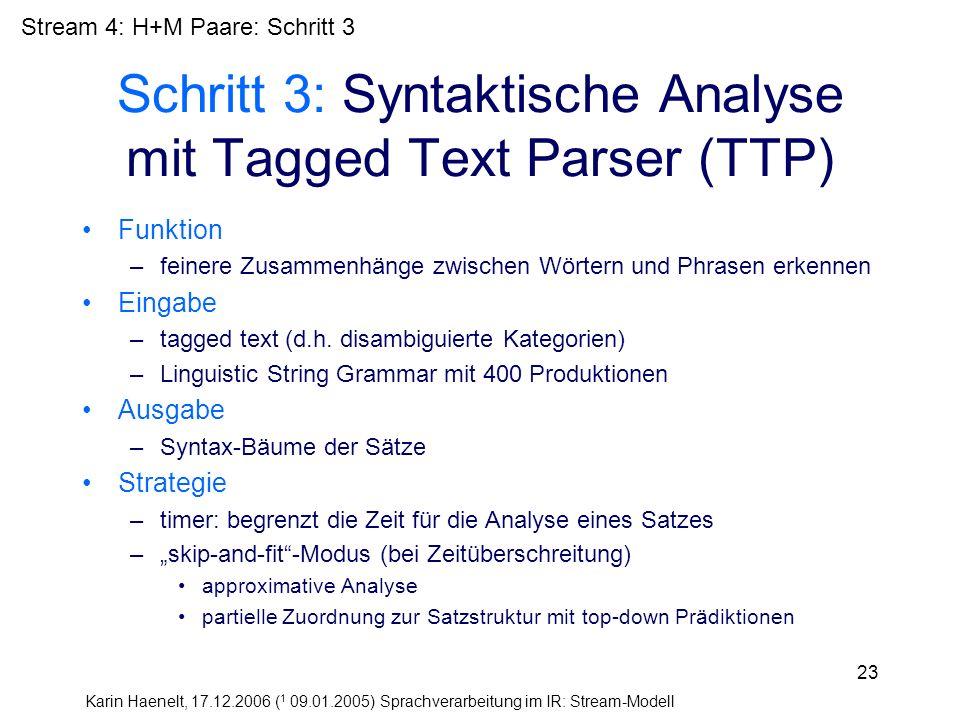 Karin Haenelt, 17.12.2006 ( 1 09.01.2005) Sprachverarbeitung im IR: Stream-Modell 23 Schritt 3: Syntaktische Analyse mit Tagged Text Parser (TTP) Funk