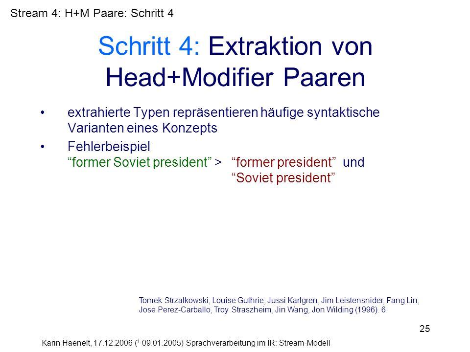 Karin Haenelt, 17.12.2006 ( 1 09.01.2005) Sprachverarbeitung im IR: Stream-Modell 25 Schritt 4: Extraktion von Head+Modifier Paaren extrahierte Typen