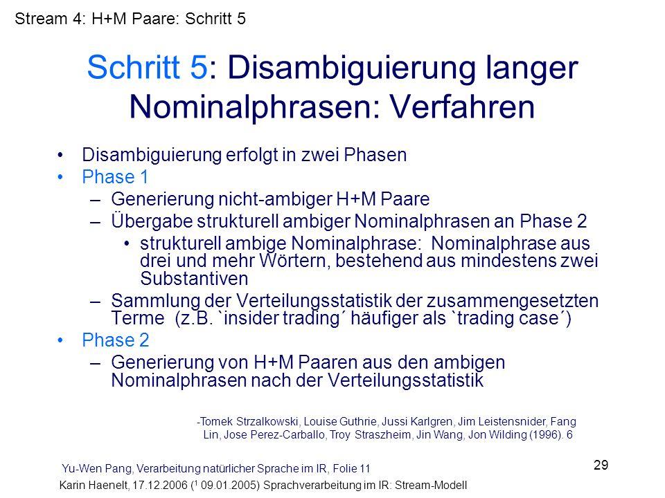 Karin Haenelt, 17.12.2006 ( 1 09.01.2005) Sprachverarbeitung im IR: Stream-Modell 29 Schritt 5: Disambiguierung langer Nominalphrasen: Verfahren Disam