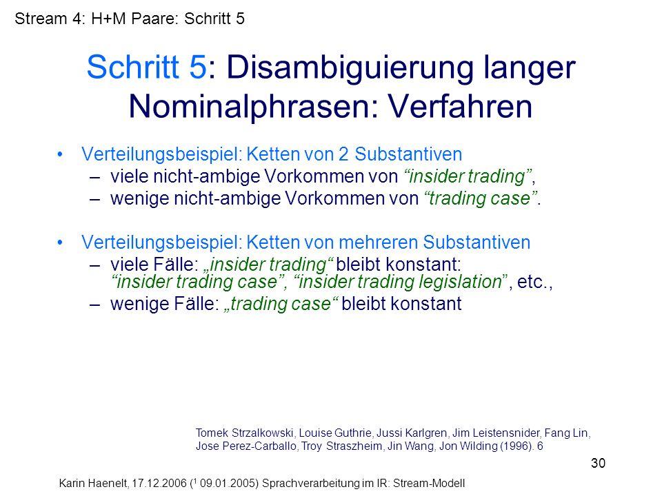 Karin Haenelt, 17.12.2006 ( 1 09.01.2005) Sprachverarbeitung im IR: Stream-Modell 30 Schritt 5: Disambiguierung langer Nominalphrasen: Verfahren Verte