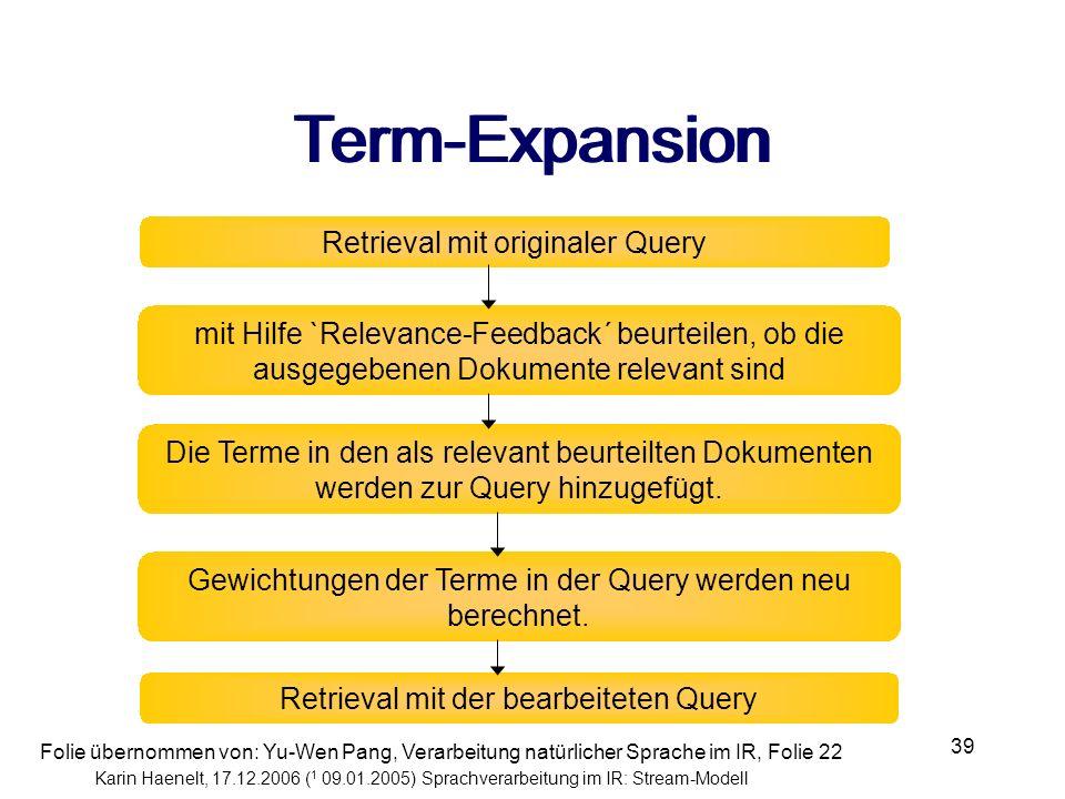 Karin Haenelt, 17.12.2006 ( 1 09.01.2005) Sprachverarbeitung im IR: Stream-Modell 39 Retrieval mit originaler Query mit Hilfe `Relevance-Feedback´ beu