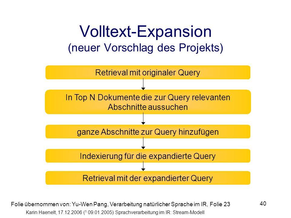 Karin Haenelt, 17.12.2006 ( 1 09.01.2005) Sprachverarbeitung im IR: Stream-Modell 40 In Top N Dokumente die zur Query relevanten Abschnitte aussuchen