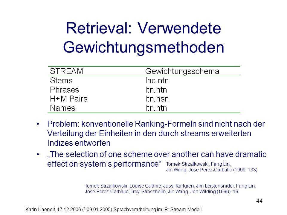 Karin Haenelt, 17.12.2006 ( 1 09.01.2005) Sprachverarbeitung im IR: Stream-Modell 44 Retrieval: Verwendete Gewichtungsmethoden Tomek Strzalkowski, Lou