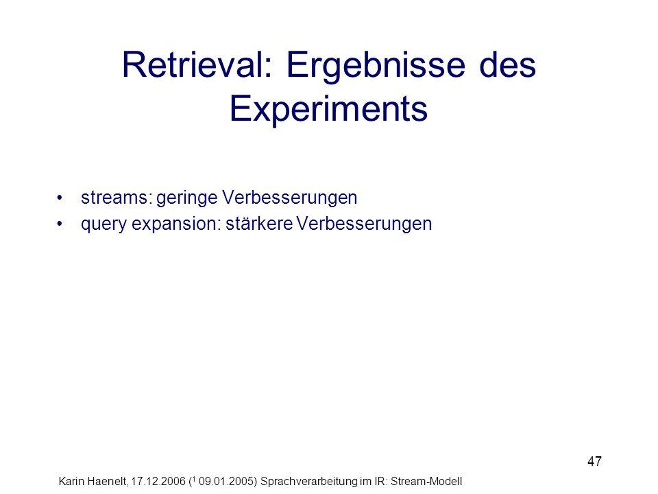 Karin Haenelt, 17.12.2006 ( 1 09.01.2005) Sprachverarbeitung im IR: Stream-Modell 47 Retrieval: Ergebnisse des Experiments streams: geringe Verbesseru