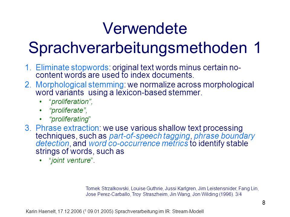 Karin Haenelt, 17.12.2006 ( 1 09.01.2005) Sprachverarbeitung im IR: Stream-Modell 49 Literatur Kavi Mahesh.