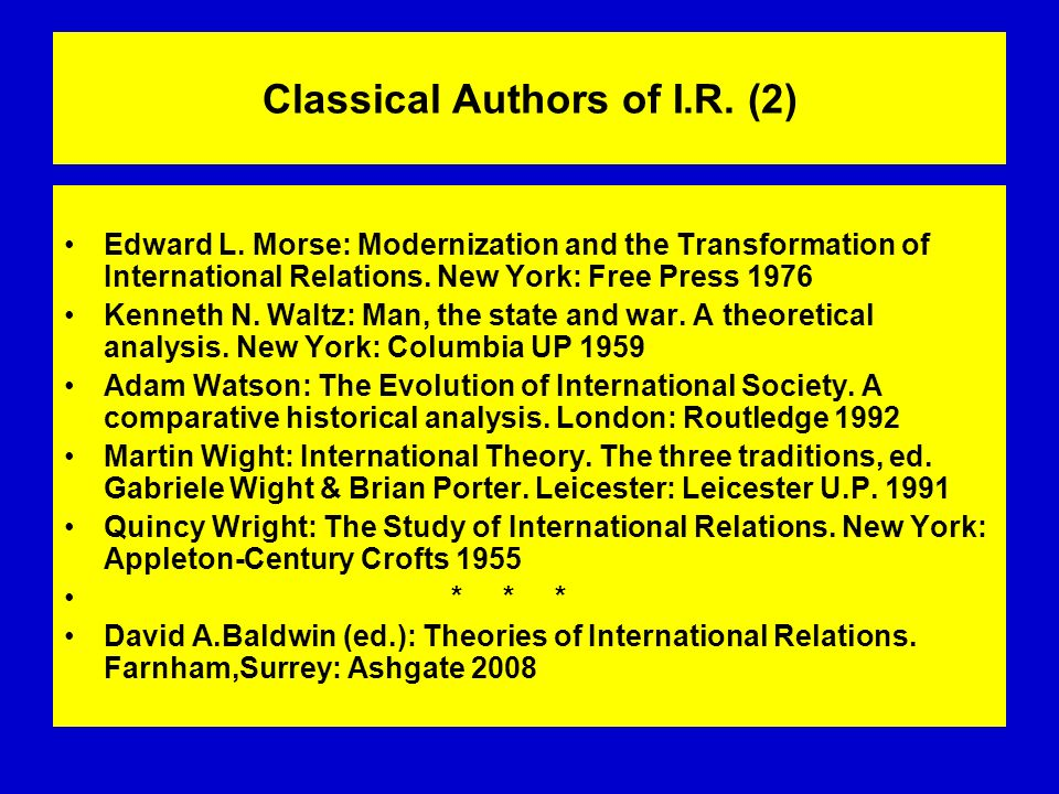 Classical Authors of I.R. (2) Edward L. Morse: Modernization and the Transformation of International Relations. New York: Free Press 1976 Kenneth N. W