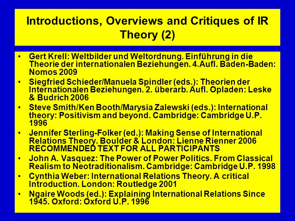 Introductions, Overviews and Critiques of IR Theory (2) Gert Krell: Weltbilder und Weltordnung. Einführung in die Theorie der internationalen Beziehun