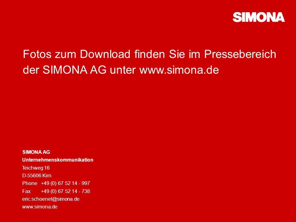 Unternehmensportrait13 Fotos zum Download finden Sie im Pressebereich der SIMONA AG unter www.simona.de SIMONA AG Unternehmenskommunikation Teichweg 16 D-55606 Kirn Phone+49 (0) 67 52 14 - 997 Fax+49 (0) 67 52 14 - 738 eric.schoenel@simona.de www.simona.de