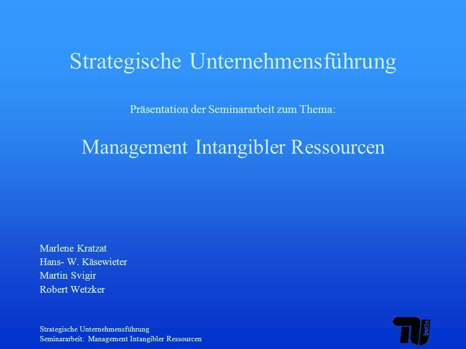 Strategische Unternehmensführung Seminararbeit: Management Intangibler Ressourcen Gliederung Begriffsabgrenzung Intangible Ressourcen Wissenskapital & Humankapital Wissensmanagement Bewertbarkeiten Intangibler Ressourcen