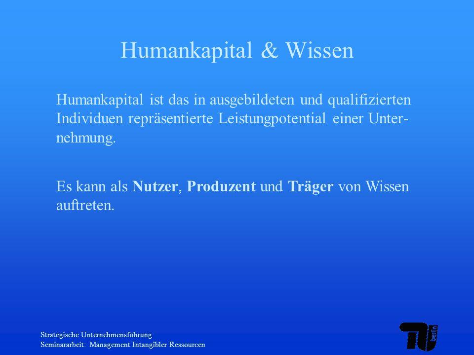 Strategische Unternehmensführung Seminararbeit: Management Intangibler Ressourcen Humankapital & Wissen Humankapital ist das in ausgebildeten und qual