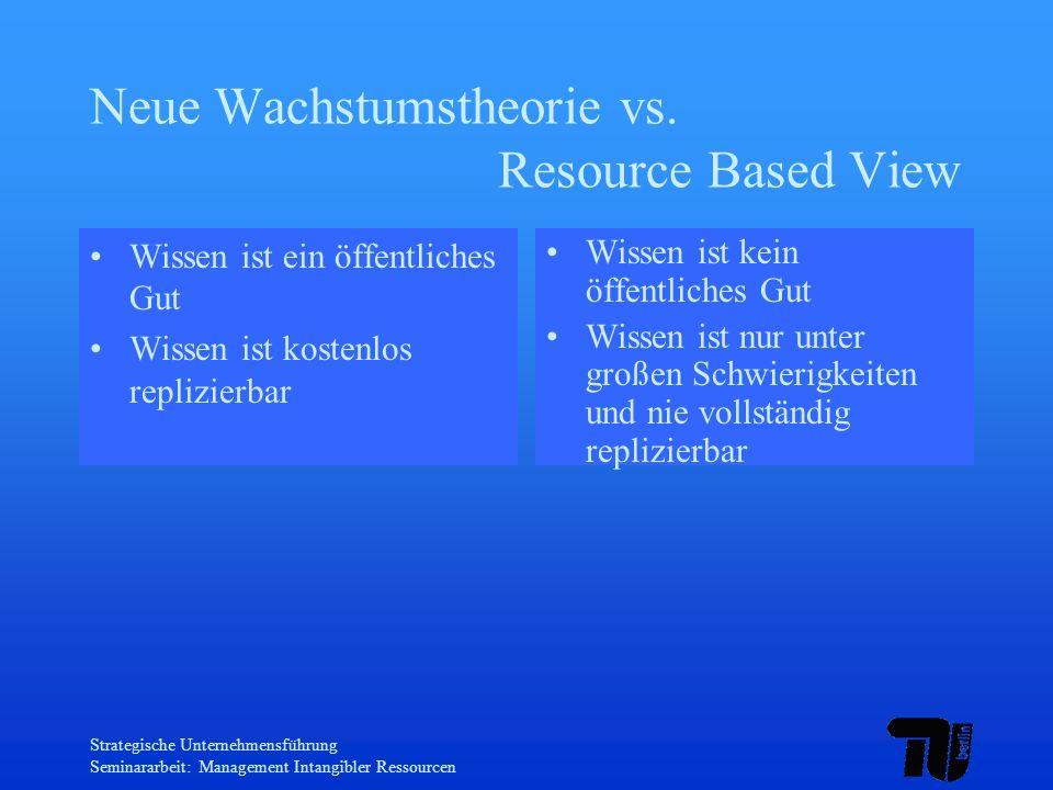 Strategische Unternehmensführung Seminararbeit: Management Intangibler Ressourcen Neue Wachstumstheorie vs. Resource Based View Wissen ist ein öffentl
