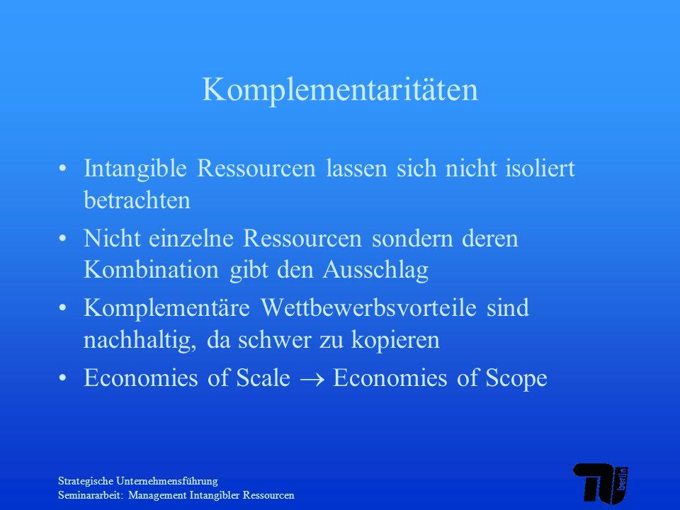 Strategische Unternehmensführung Seminararbeit: Management Intangibler Ressourcen Komplementaritäten Intangible Ressourcen lassen sich nicht isoliert