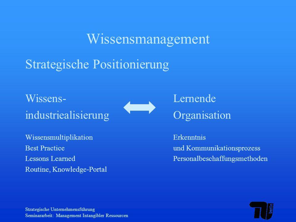 Strategische Unternehmensführung Seminararbeit: Management Intangibler Ressourcen Wissensmanagement Strategische Positionierung Wissens-Lernende indus