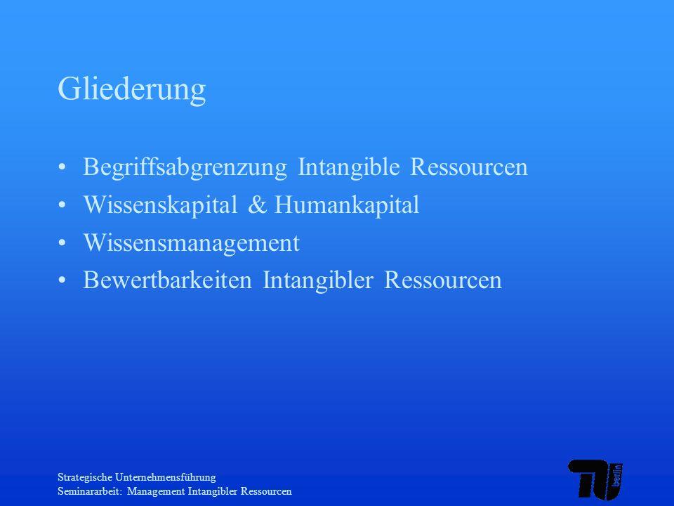 Strategische Unternehmensführung Seminararbeit: Management Intangibler Ressourcen Anreizsysteme Arbeitsgestaltung Prämiensysteme Aufstiegschancen Erfolgsbeteiligungsmodelle immaterielle Anreize (zusätzlich Schulungen etc.)
