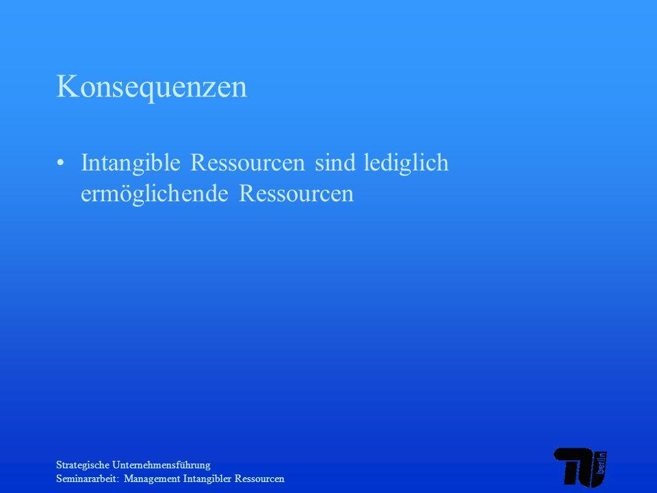 Strategische Unternehmensführung Seminararbeit: Management Intangibler Ressourcen Konsequenzen Intangible Ressourcen sind lediglich ermöglichende Ress