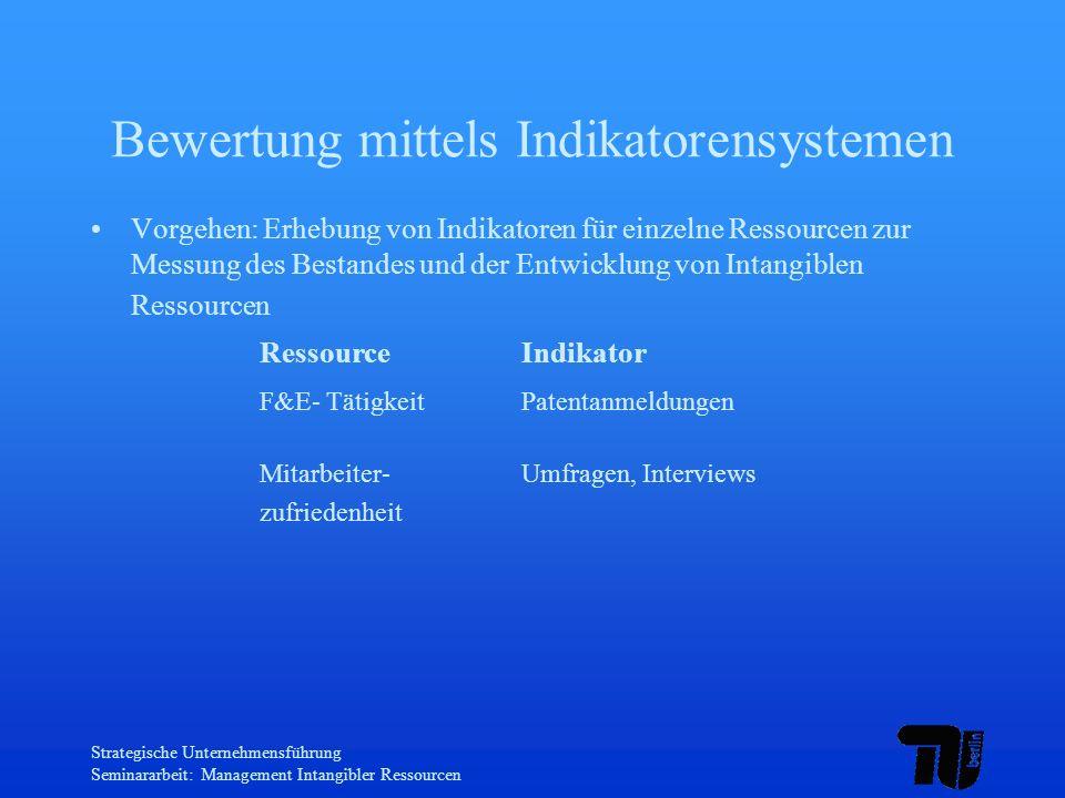 Strategische Unternehmensführung Seminararbeit: Management Intangibler Ressourcen Bewertung mittels Indikatorensystemen Vorgehen: Erhebung von Indikat
